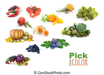 Fruit and vegetables color rainbow Healthy eating concept...