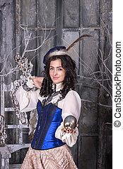 19o, mulher, Vestido, caça, século