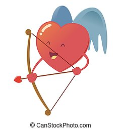 Heart With Wings Holding Bow Arrow - Heart with wings...