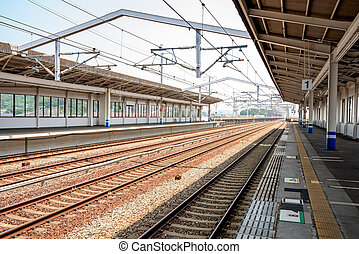 Bullet train station tracks and loading - Train station...