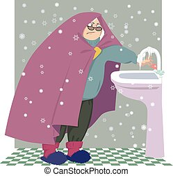 Senior woman in a cold house