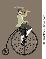 Vintage bicyclist - Victorian gentleman with a pipe and a...