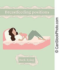 Breastfeed position mother with baby lying on the bed -...