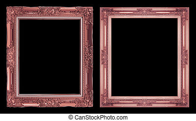 collection 2 antique brown frame isolated on black background, clipping path