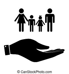 Family in hand icon