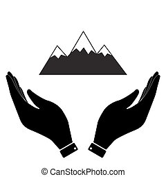 Mountain in hand icon, care symbol vector illustration. Flat...
