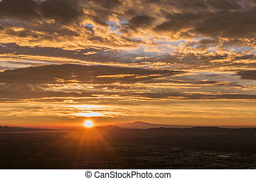 Los Angeles Griffith Park Sunrise - Sun rising behind...