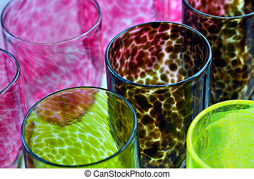 Colorful Glass-work cups background
