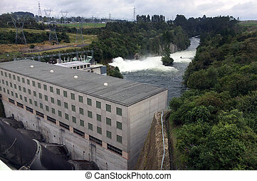 Hydroelectric power station at Lake Maraetai in Mangakino,...