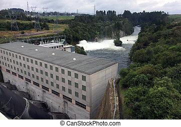 Hydroelectric power station at Lake Maraetai in Mangakino,...
