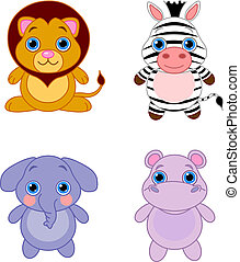 Cute animals set 04 - Cute funny baby animals set. African...