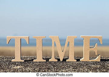 word quot;timequot; made with wooden block - block wooden...