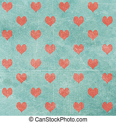 valentine background - heart pattern on vintage paper...