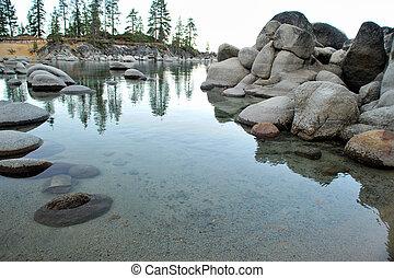 Lake Tahoe, Sand Harbor - Small bay at Lake Tahoe with...