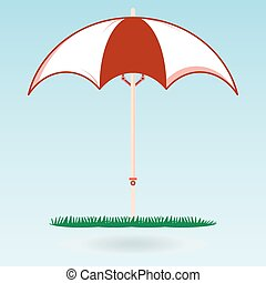 Beach umbrella on the green grass. The symbol of the holiday,  travel. Journey to the sea.