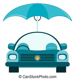Passenger car under an umbrella Protection from bad weather,...