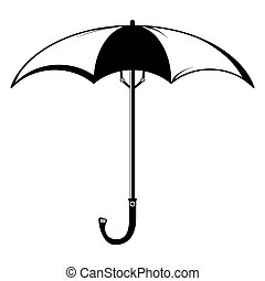 Black and white silhouette of an umbrella