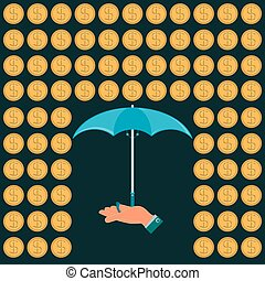 Rain of gold dollar coins and an umbrella in his hand. Protection against dollar expansion.