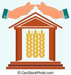 Hands protect the house with ears of wheat. Warehouse for storing grain. Exchange of grain. Investments in agriculture.