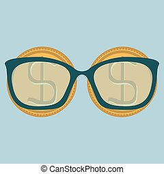 Two gold dollar coins and glasses with diopters. Education for money.