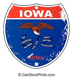 Iowa Flag Icons As Interstate Sign - Iowa flag icons as an...