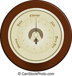 Barometer on dark wood - Wall barometer, edged with dark...