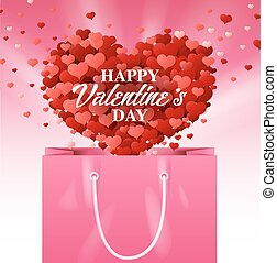 pink shopping bag, valentines day,