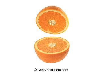 cut orange on the white background