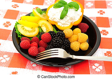 Fresh Berry And Cottage Cheese Salad - lo-cal salad made...
