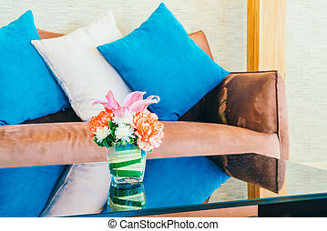 Vase flower decoration in living room interior - Vintage...