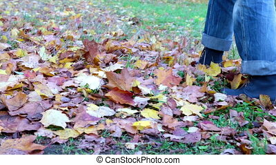 the woman goes on a grass and throws the fallen autumn leaves by feet