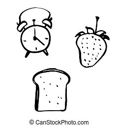 freehand sketch illustration of alarm clock, bread and...