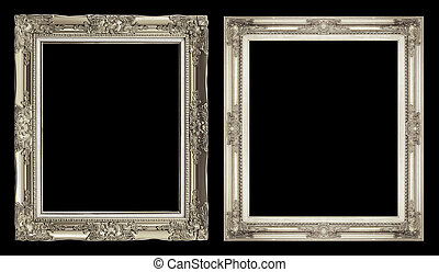 collection 2 antique golden frame isolated on black background, clipping path