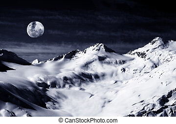 Elbrus Mount with moon - Russia. Caucasus. View on Elbrus...