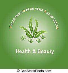 aloe vela - Vector illustration; Aloe vera icon on a green...