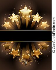 banner with five stars - banner with five luxury, gold stars...
