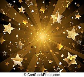 Dark radiant background with golden stars