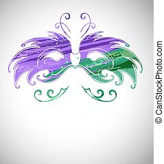 Mask painted with paint - Mardi Gras Mask painted green and...