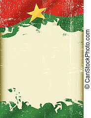 Burkina Faso Flag grunge background - A flag of Burkina Faso...