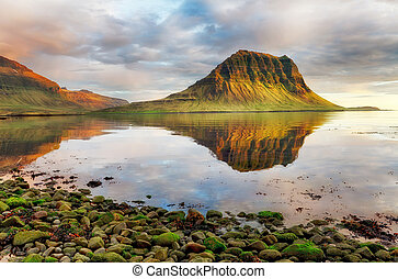 Sea coast with mountain reflection, Iceland