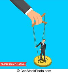 people manipulating illustration - Businessman puppet on...
