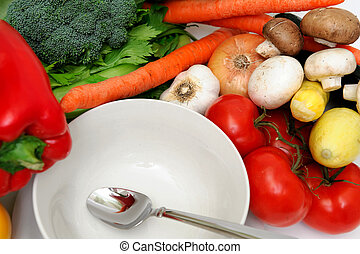 Empty Soup Bowl - White bowl surrounded by fresh vegetables...