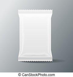 white Blank Food Bag Packaging , 3 D ,vector