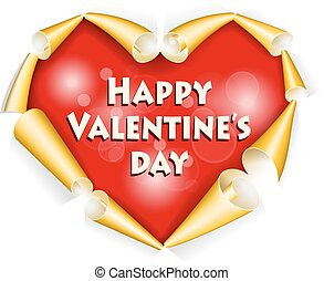 Valentines day background - Red heart with gold rolled paper...