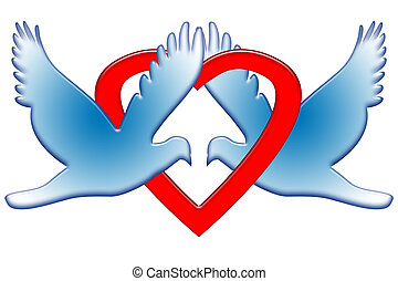 Romantic Doves - Sweet couple of blue doves with red heart...