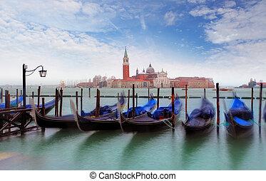 Gondolas with view of San Giorgio Maggiore, Venice, Italy