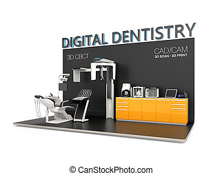 Digital dentistry concept. Input patient facial data by...