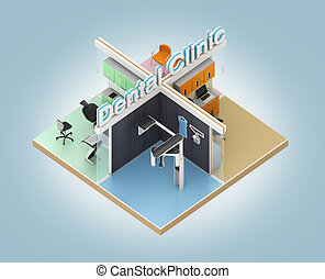 Isometric view of dental clinic