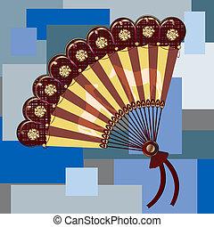 hand fan - Vintage hand fan, art illustration