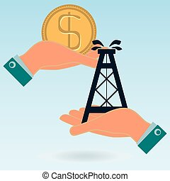 Oil rig and dollar gold coin in  hands. Oil market. Illegal sale of oil.